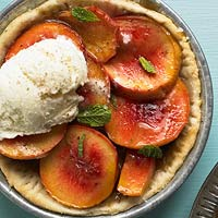 Roasted Peach Pies with Butterscotch Sauce