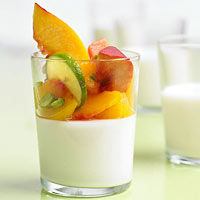 Panna Cotta with Peaches in Lime Syrup