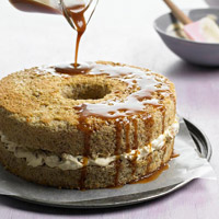 Walnut Cake with Caramel Whipped Cream and Simple Caramel Sauce