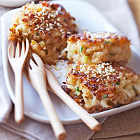Sesame Crab and Brown Rice Cakes