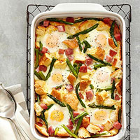 BHG's Newest Recipes:Ham-Asparagus and Cheese Strata Recipe