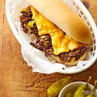 Philly Cheese Pot Roast Sandwiches
