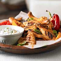 Spicy Chicken with Cucumber Yogurt Sauce