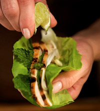 Asian Tacos: Grilled Chicken Wrapped with Mint & Lettuce