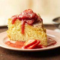 Genoise in Strawberry Vin Santo Sauce
