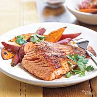 Image of Ancho-glazed Salmon With Broiled Sweet Potato Fries, Better Homes and Garden