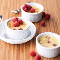 Baked Raspberry Custards