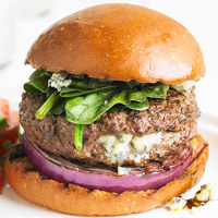 Blue Cheese Stuffed Burger with Red Onion and Spinach