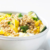 Toasted Couscous with Grilled Mango and Zucchini