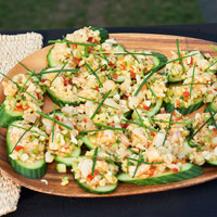 Cucumber Bruschetta with Grilled Shrimp & Crab Salad