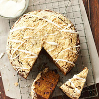 Cranberry-Pumpkin Gingerbread with Sherry-Cream Cheese Drizzle