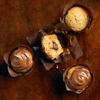 Chocolate-Filled Sweet Potato Cupcakes