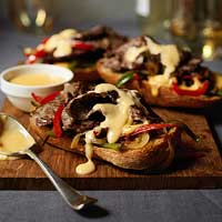 Open-Face Philly Cheese Steak Sandwiches