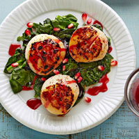 Seared Scallops and Baby Spinach with Spiced Pomegranate Glaze