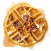 Pumpkin Waffles with Maple Pecan Cream