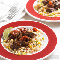 BBQ Beef Roast with Corn and Pepper Couscous