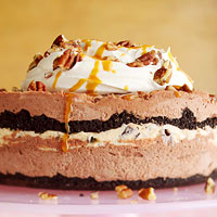 Frosty Caramel, Chocolate, and Pecan Torte