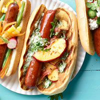 Pickled Peach and Bacon Dogs with Arugula Mayo