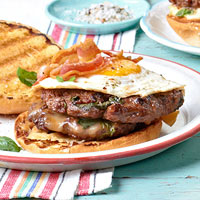 Double Cheeseburgers with Basil, Bacon, and Egg