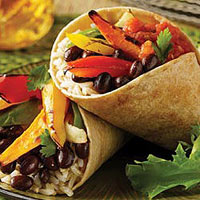 Roasted Veggie, Black Bean & Cheese Wrap