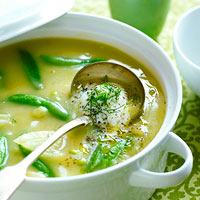 Hearty Garlic and Snap Pea Soup