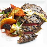 Peppered Steaks with Roasted Beets