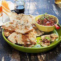 Rosemary Garlic Flatbread with Spicy Tuna Salad