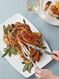 Roast Chicken With Orange, Onion And Sage