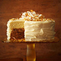 Carrot-Coconut Cream Cake with Raisin-Rum Filling