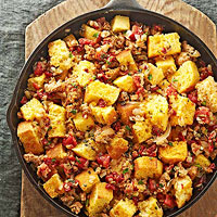 Corn Bread Stuffing with Tomatoes and Sausage