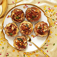 Acorn Squash with Maple Cream Bacon and Nuts
