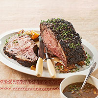 How to Cook a Holiday Rib Roast with Grain Mustard Jus