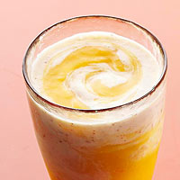 Banana, Peach, and Flax Swirly Smoothies