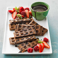 Chocolate Waffles with Mocha Syrup