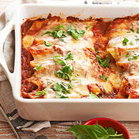Cheesy Pesto-Meatball Manicotti