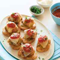 Teeny Chicken Parmesan Crostini