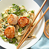 Seared Scallops with Noodle Salad