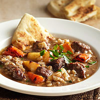 Beef and Barley Stew with Roasted Winter Vegetables