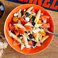 Pasta with feta, black olives, and tomatoes