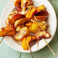 Grilled Fruit Skewers with Spicy Maple Cumin Glaze