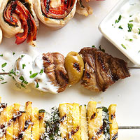Lamb and Olive Skewers with Yogurt Sauce