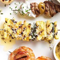 Zucchini and Yellow Squash Kebobs with Herb Butter