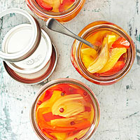 Sweet Saffron-Scented Pickled Fennel and Red Peppers