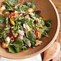 Warm Chicken Salad with Peppers and Pine Nuts