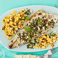 Grilled Fish With Caper-Herb Salsa And Corn