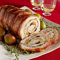 Pistachio and cranberry stuffed pork roast