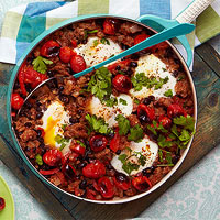 Braised Eggs with Black Beans, Sausage and Salsa