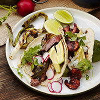 Tacos with Grilled Shrimp in Adobo