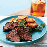 pepper steak and sweet-potato chips