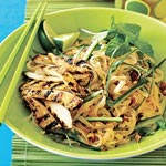 Grilled Curried Chicken Cutlets Over Asian Rice-Noodle Salad